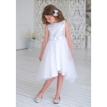 Платье нарядное белого цвета с пайетками Эльза