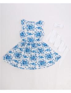 Платье без рукавов с белым пояском гжель