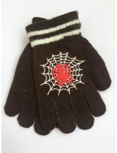 Перчатки осенние коричневого цвета с пауком