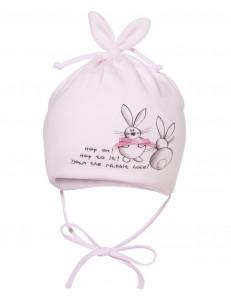 """Шапочка для малышей розового цвета """"кроличьи ушки"""""""