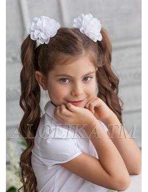 """Бант для волос белого цвета на мягкой резинке """"Пандора"""" (2шт)"""