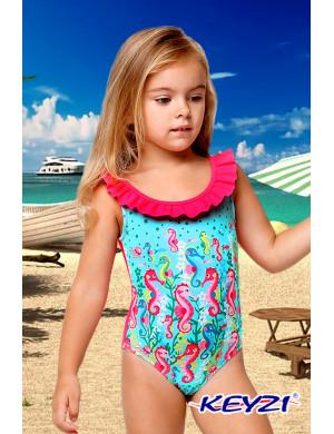 """Купальник слитный для девочек розово-голубого цвета """"Морской конек"""""""